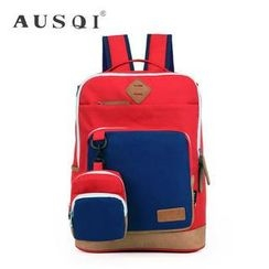 Ausqi - Color-Block Canvas Backpack with Pouch