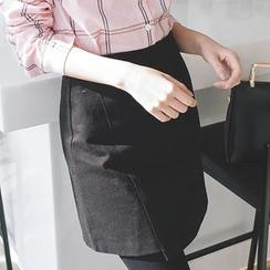 mimi&didi - Asymmetric-Hem A-Line Mini Skirt