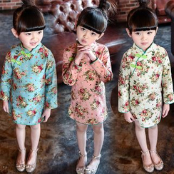 SEE SAW - Long-Sleeve Floral Cheongsam