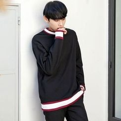TOMONARI - Crew-Neck Contrast-Trim Sweatshirt