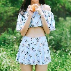 Sweet Splash - Set: Floral Swim Top + Swim Skirt