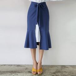 DABAGIRL - Ruffle-Hem Linen Blend Wrap Skirt