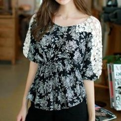 Jolly Club - Lace-Sleeve Floral Top