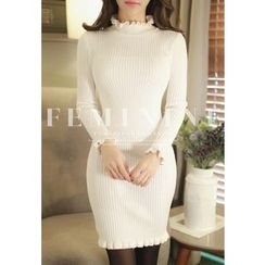 MyFiona - Frill-Neck Rib-Knit Bodycon Dress