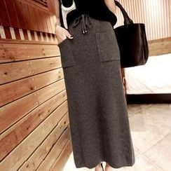 Clair Fashion - Drawstring Maxi Knit Skirt