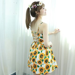Dodostyle - Sunflower Print Lace-Up Back Skater Dress