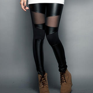 CUTIE FASHION - Faux-Leather Leggings