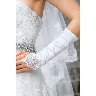 59 Seconds - Embroidered Long Fingerless Bridal Gloves