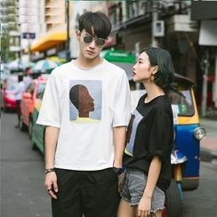 Evolu Fashion - Couple Matching Printed Elbow-Sleeve T-shirt