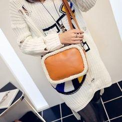 Secret Garden - Fleece Trim Faux Leather Shoulder Bag