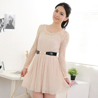 59 Seconds - Lace-Panel Pleated Dress (Belt not Included)