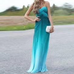Katemi - Ombre Strapless Sheath Evening Gown