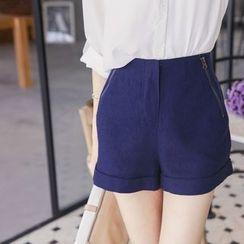 东京著衣 - 拉链装饰短裤