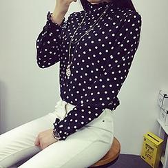 Shimi - Long-Sleeve Dotted Chiffon Blouse