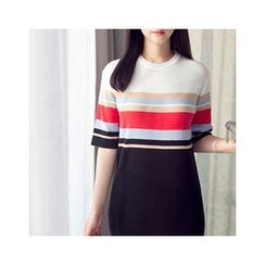 MASoeur - Multi-Stripe Slit-Hem Knit Dress