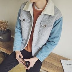 JUN.LEE - Denim Panel Woolen Jacket