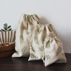 TangTangBags - Leaf Print Drawstring Pouch