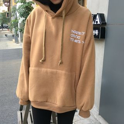 Chililala - Lettering Embroidered Oversized Hoodie