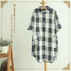 Softies - Short-Sleeve Check Long Blouse