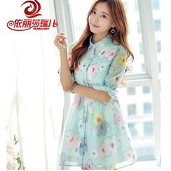 Elisa Rachel - Short-Sleeve Floral A-line Dress