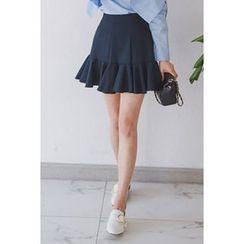 migunstyle - Band-Waist Ruffled Skirt