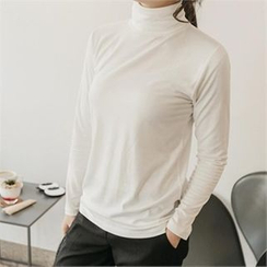 JOAMOM - Turtle-Neck Plain T-Shirt
