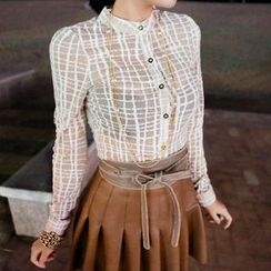 vivaruby - Mandarin-Collar Check Sheer Blouse