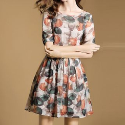 LunarS - Short-Sleeve Print Chiffon Dress