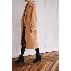 CHERRYKOKO - Wide-Lapel Wool Blend Long Coat