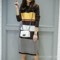 Polaris - Striped Color Block Sweater Dress