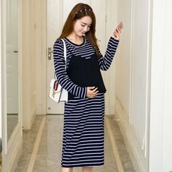 Ohayo - Maternity Striped Mock Two-Piece Midi Dress