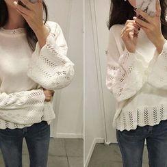 Hello sweety - Drop-Shoulder Pointelle-Knit Sweater