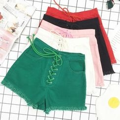 About a Girl - Lace-Up High-Waist Shorts