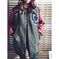 LOLOten - Badge-Patch Wool Blend Baseball Jacket