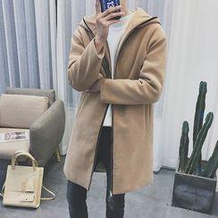 Arthur Look - Hooded Faux Suede Zip Coat