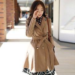 Styleonme - Tweed-Trim A-Line Trench Coat