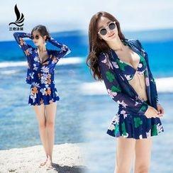 SANQI - Set : Floral Print 2-piece Swimdress + Cover-up