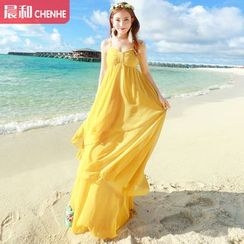 Morning Dew - 純色吊帶雪紡沙灘裙