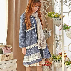 Blue Hat - Long-Sleeve Lace-Trim Floral Dress