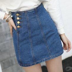 ONXZ - Side Buttoned A-Line Denim Skirt
