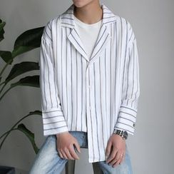 Arthur Look - Pinstripe Embroidered Lapel Shirt