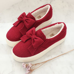 DANI LOVE - Fleece-Lined Bow-Front Slip-Ons
