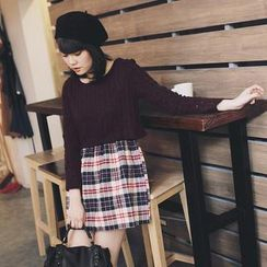 Tokyo Fashion - Mock Two-Piece Plaid Dress