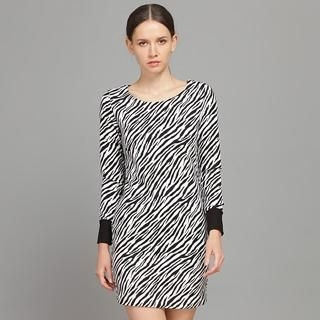 YiGelila - Long-Sleeve Contrast-Trim Zebra-Print Dress