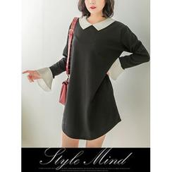 LOLOten - Contrast-Trim Collared Shift Dress