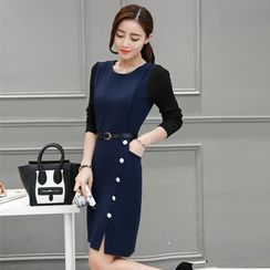 Kotoba - Long-Sleeve Color Block Sheath Dress