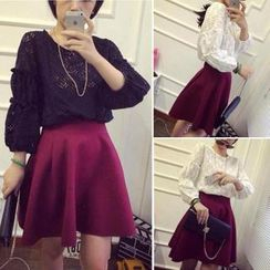 QZ Lady - Set: 3/4-Sleeve Lace Top + A-Line Skirt