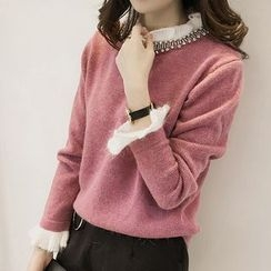 Little V - Rhinestone Frill Collar Sweater