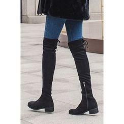 migunstyle - Tie-Detail Faux-Suede High Boots