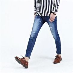 THE COVER - Washed Distressed Jeans